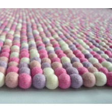 Rich Golden Felt Ball Rug