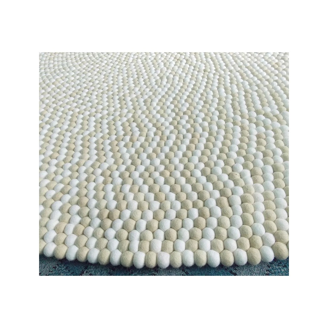 rectangle light golden felt ball rug for nursery - felt ball & rugs