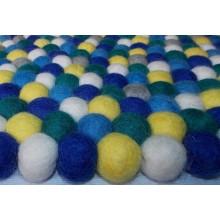 Tie Dye Handamde Felt Ball Rug