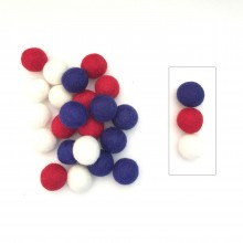 2cm Blue/White and Red Felt Ball Package