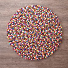 Natural Gray Shade Felt Ball Rug