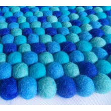 Spiral Color Band Felt Ball Rug