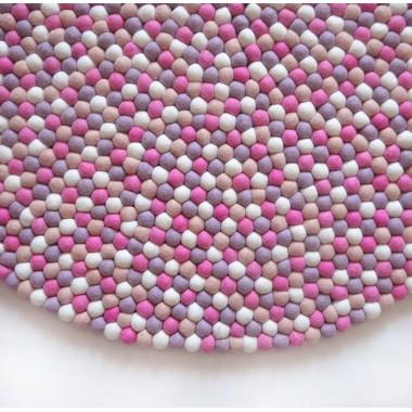 Handmade Natural Felt Ball Rug